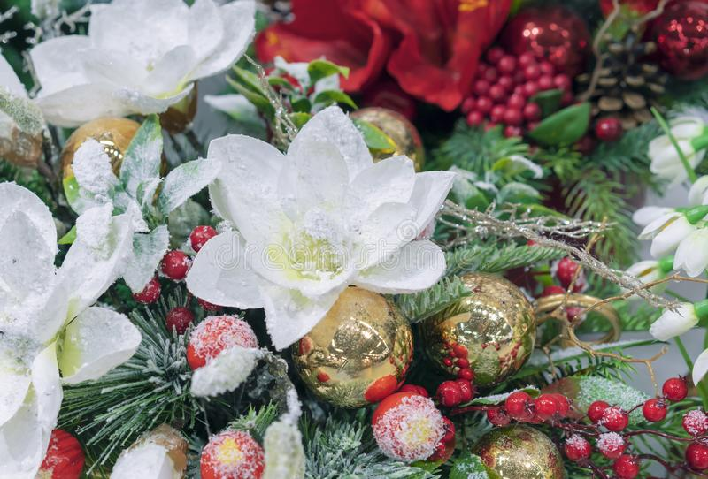 Christmas composition with flowers, berries and decorations.  stock photography