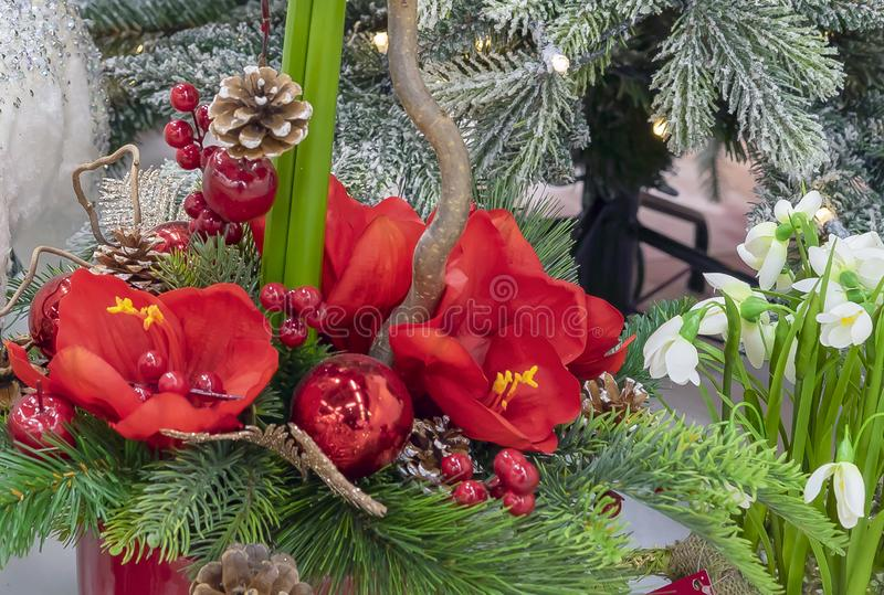 Christmas composition with flowers, berries and decorations.  royalty free stock photography