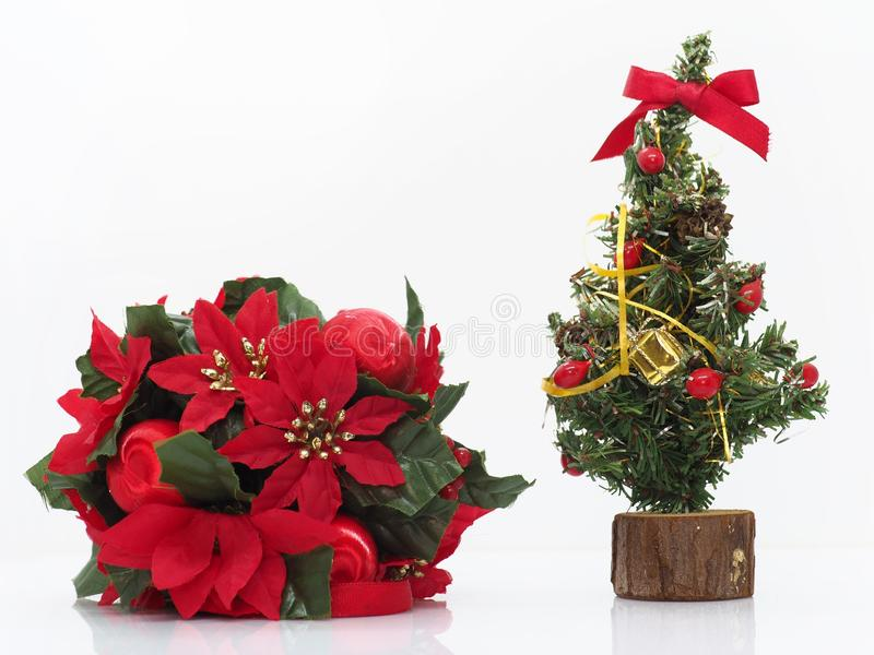 Christmas composition,flowers and a small christmas tree royalty free stock photo