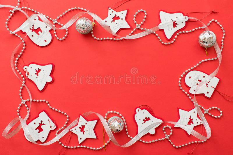 Christmas composition, mockup frame on red background stock images