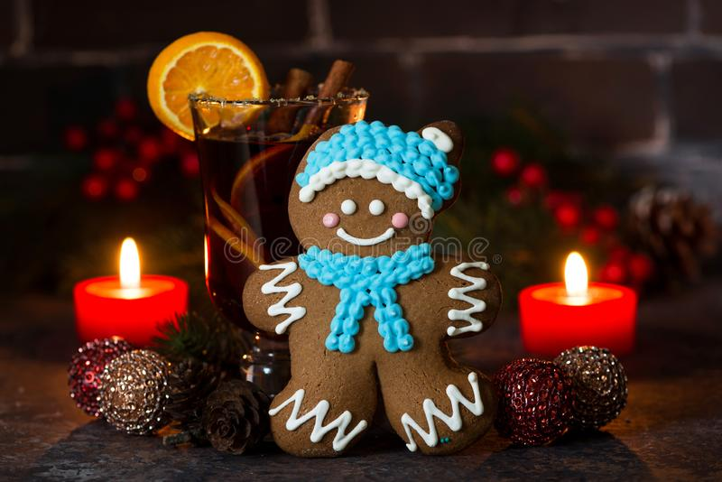 Christmas composition with mulled wine and gingerbread man. Closeup horizontal royalty free stock photos
