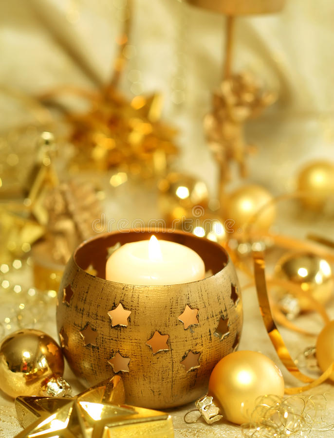 Free Christmas Composition Of Balls And Candle Royalty Free Stock Photography - 11923567