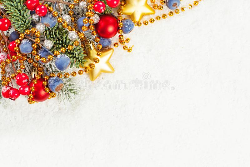Christmas composition with snow and Xmas decor border. Merry Christmas card.  royalty free stock photo