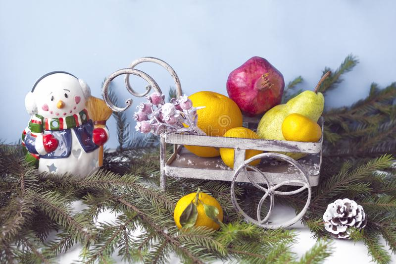 Christmas composition with a snowman. Copy space. stock images
