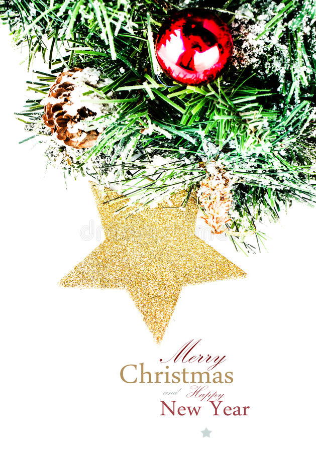 Download Christmas Composition With Star, Snow And  Decorations  (with E Stock Image - Image: 33055125