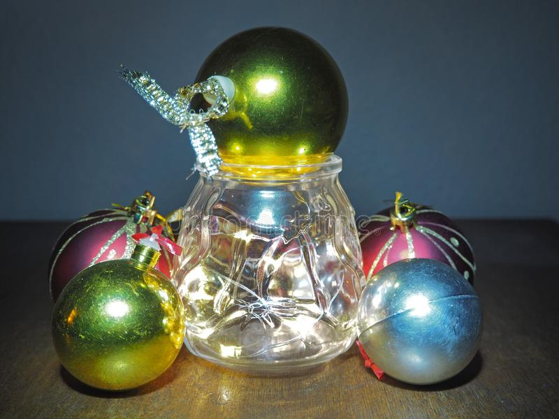 Christmas composition,tree balls and fairy lights royalty free stock images