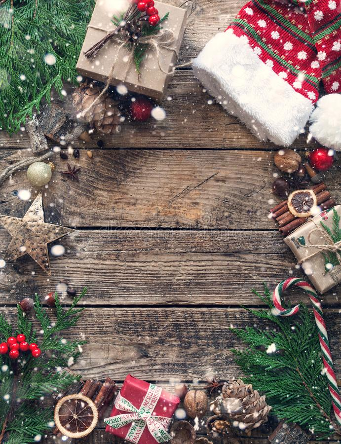Christmas composition on wooden vintage background. top view, flat lay. royalty free stock photo