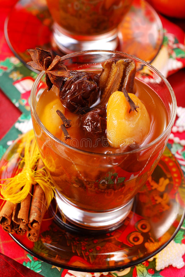 Christmas compote of dried fruits royalty free stock photo