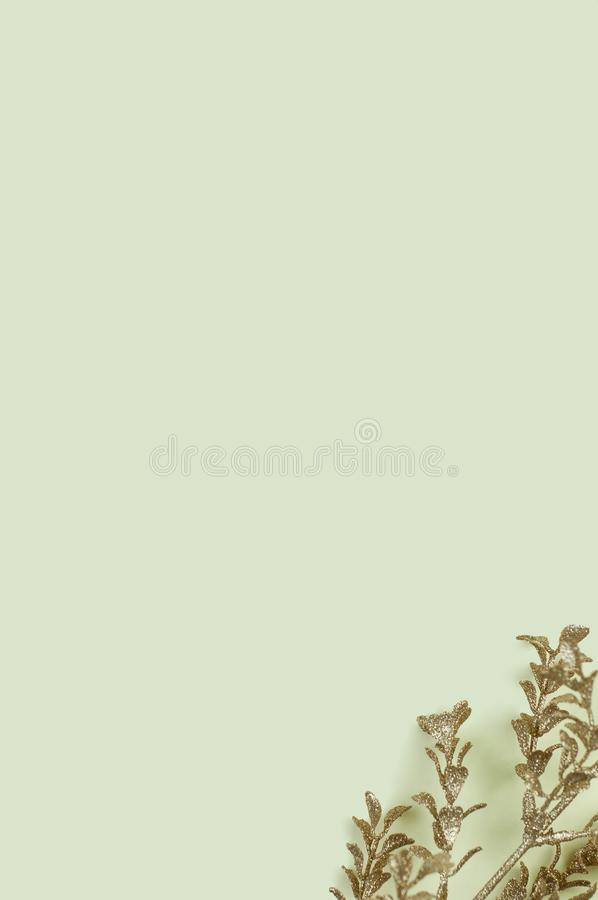 Christmas concept background with golden twig stock photography