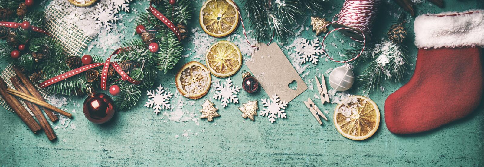 Christmas concept, christmas decoration, top view, toned. Horizontal stock photography
