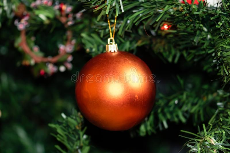 Christmas concept. Decorated Christmas tree,  Fir braches  with hanging decorations and garlands.  royalty free stock photo
