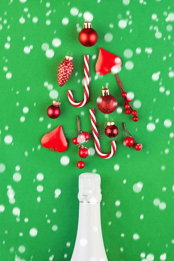 Christmas concept. Green Xmas background with white snow stock image