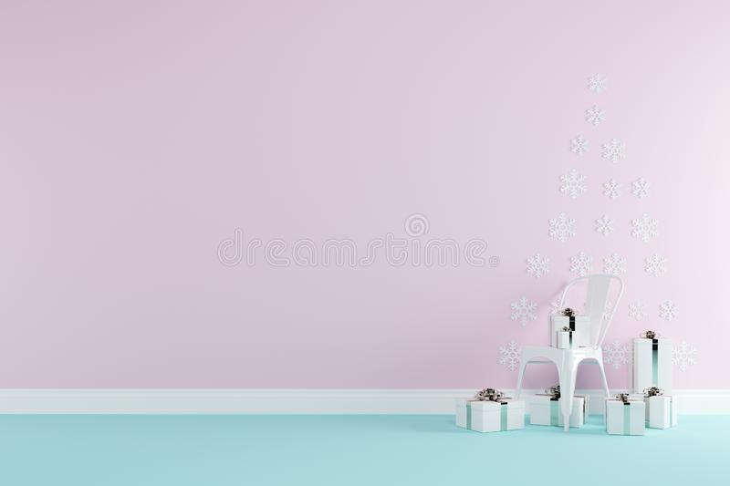 Christmas concept interior pastel pink and blue room with white chair and white gift boxes set for copy space. Minimal idea concept stock illustration