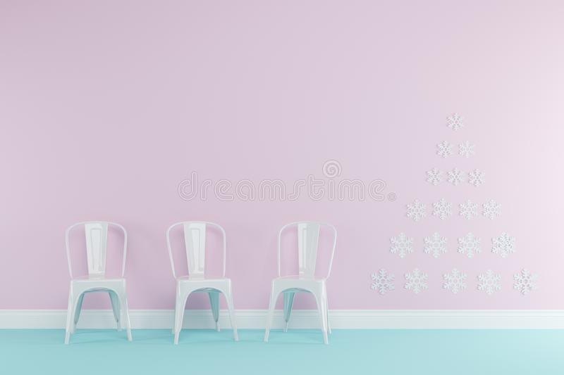 Christmas concept interior pastel pink and blue room with white chairs set for copy space. Minimal idea concept royalty free illustration