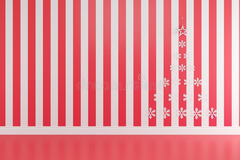 Christmas concept interior red and white room with star and snowflakes wallpaper for copy space. Minimal idea concept royalty free illustration