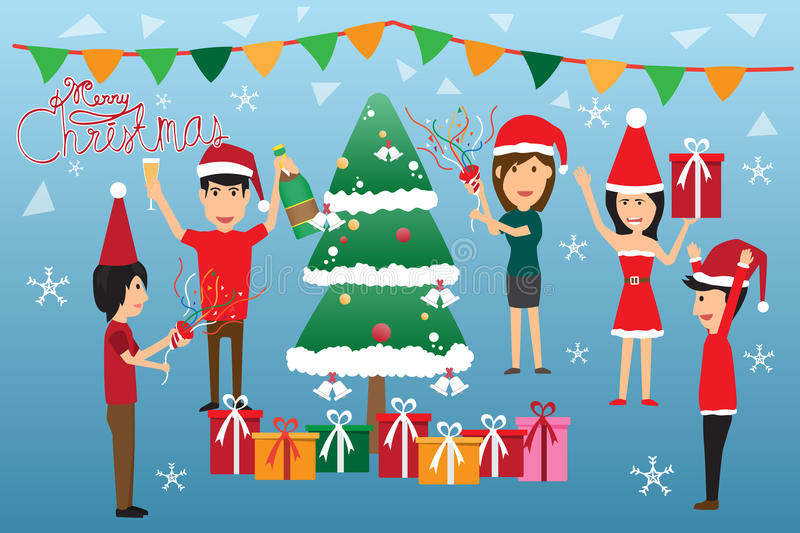 Christmas concept vector. Man and woman fun in Christmas party vector illustration