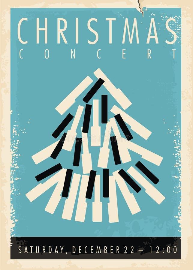 Christmas concert retro poster design idea stock illustration