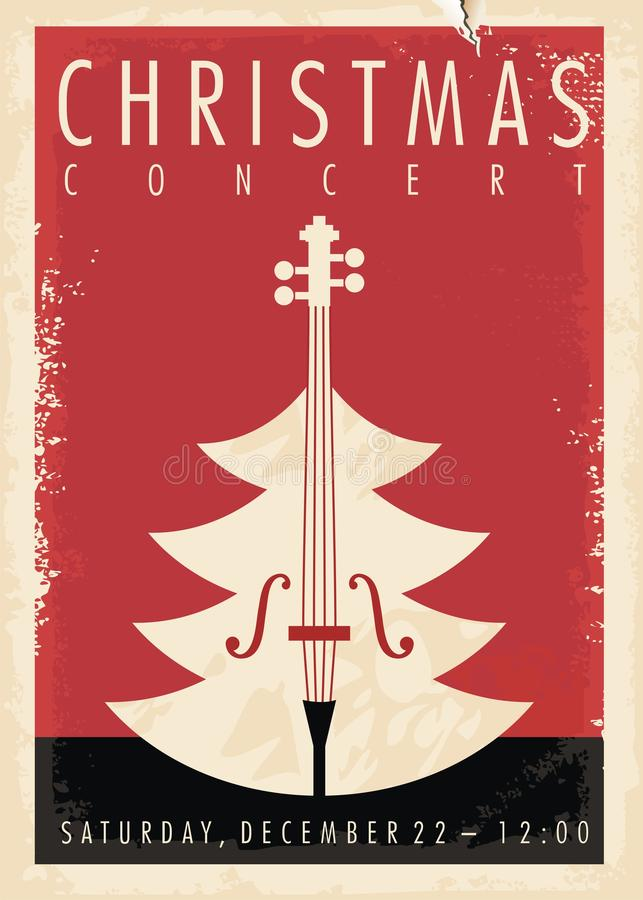 Christmas concert retro poster design stock illustration
