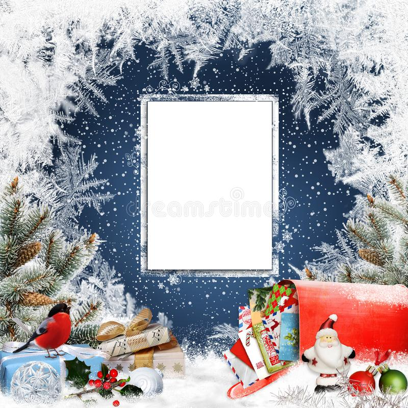 Christmas congratulatory background with card for text, gifts, mailbox with letters, bird, Santa Claus and pine branches stock illustration