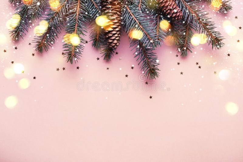 Christmas coniferous border with cones and bokeh lights. Pink background. Copy space royalty free stock image