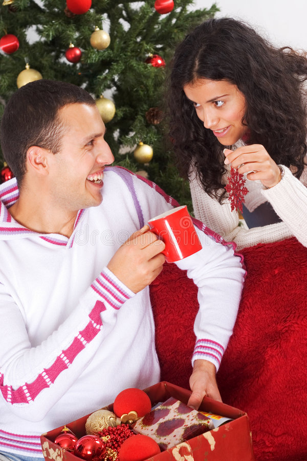 Christmas conversation stock photography