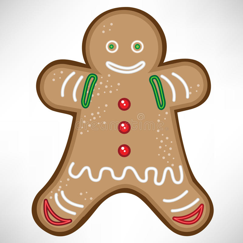 Christmas cookie. Smiling single decorated christmas cookie vector illustration