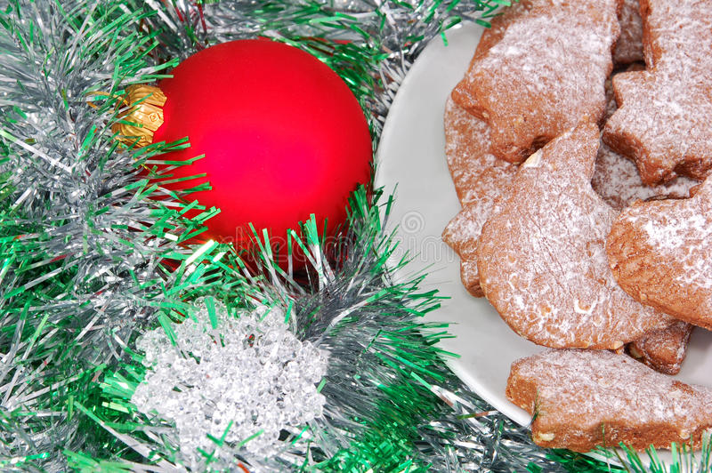 Christmas cookie, ball and decoration royalty free stock photo
