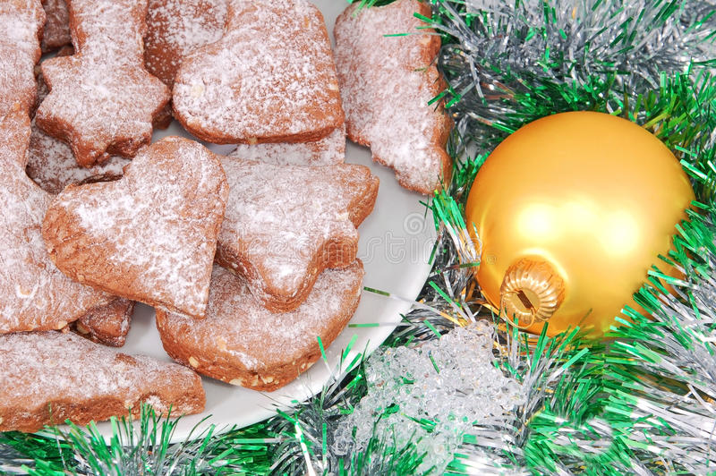 Christmas cookie, ball and decoration stock photography