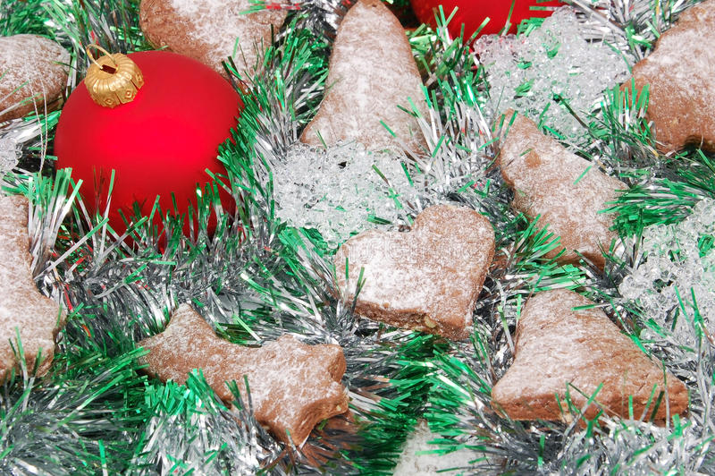 Christmas cookie, ball and decoration royalty free stock photos