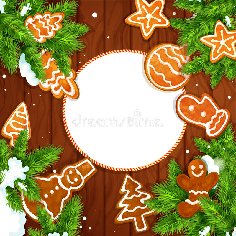 Christmas cookie and pine on wooden background. Christmas greeting card with gingerbread and pine branches on wooden background. Ginger cookie man, xmas tree vector illustration