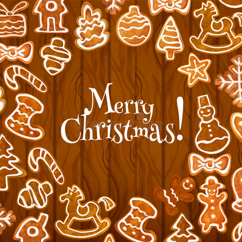 Christmas cookie poster on wooden background. Gingerbread man and candy, star, xmas tree and gift box, snowflake, snowman and bauble, bow and stocking sock stock illustration