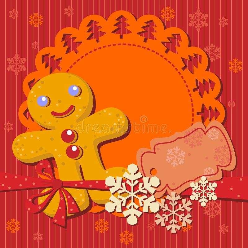 Christmas cookie recipe for party invitation. Greeting with Gingerbread man Cookie stock illustration