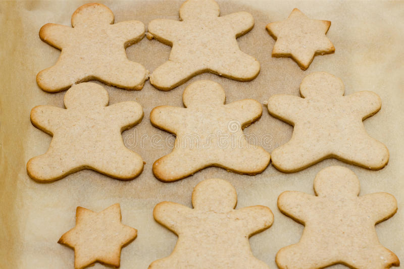 Christmas cookie in shape of man stock photos