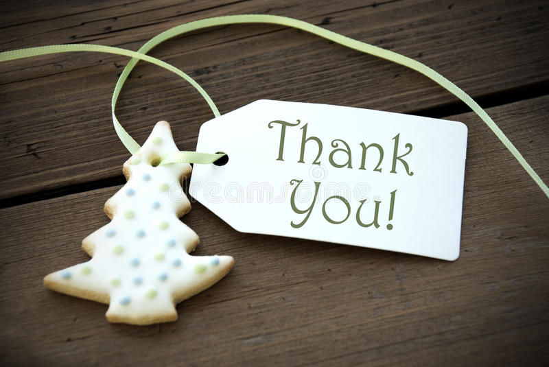 Christmas Cookie with Thank You. Christmas Tree Cookies as Christmas Decoration with Thank You Label royalty free stock image