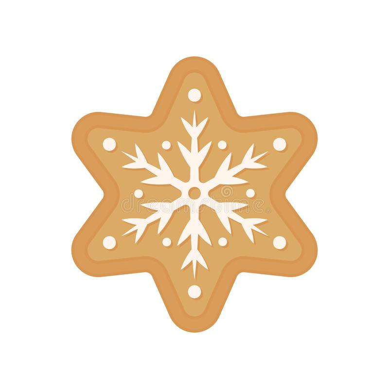Christmas cookie - vector. Gingerbread cookie. Star. Snowflake cookie isolated. On white background royalty free illustration