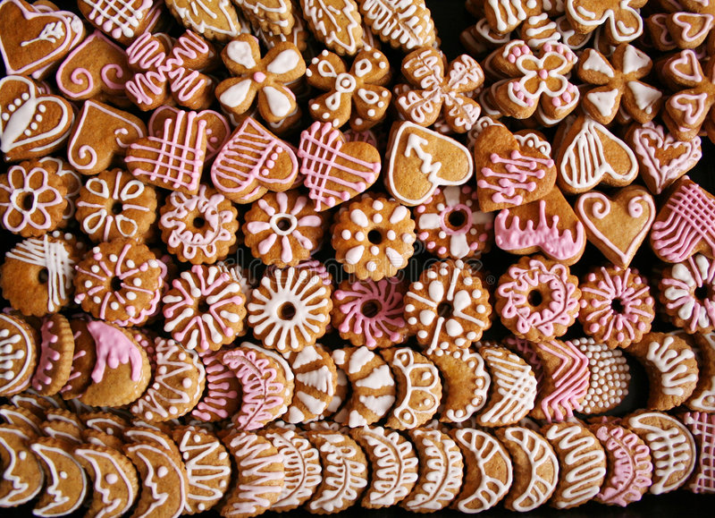 Christmas cookies. A lot of christmas cookies royalty free stock image