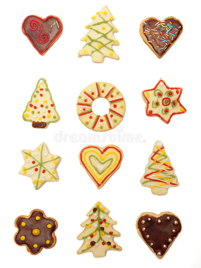 Christmas cookies. Collection of various handmade christmas cookies, covered and decorated with chocolate and colorful sugar royalty free stock photography