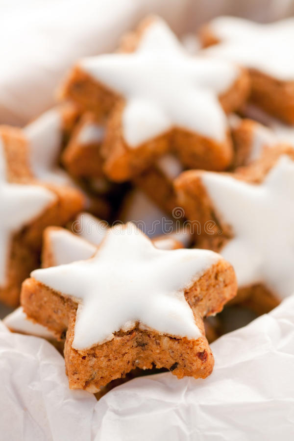 Christmas cookies. In a box with blank paper stock photography