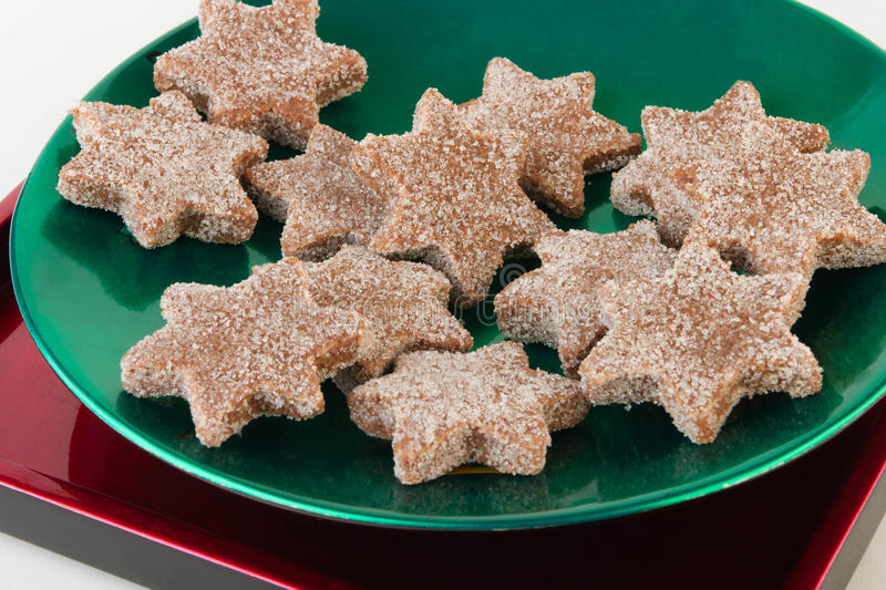 Christmas Cookies. On a green plate stock photography