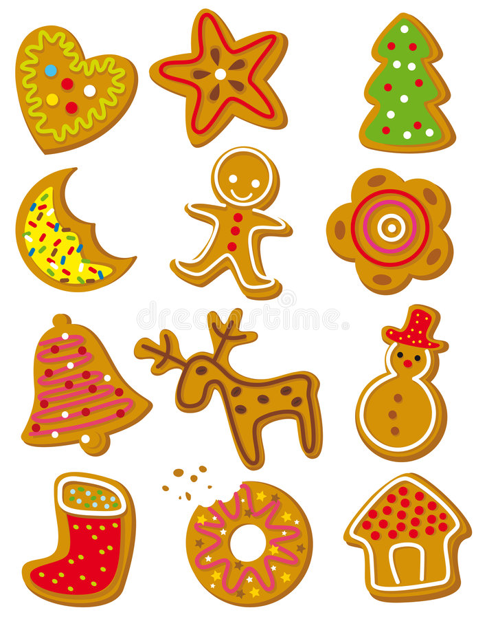 Christmas cookies. Set of christmas cookies on a white background
