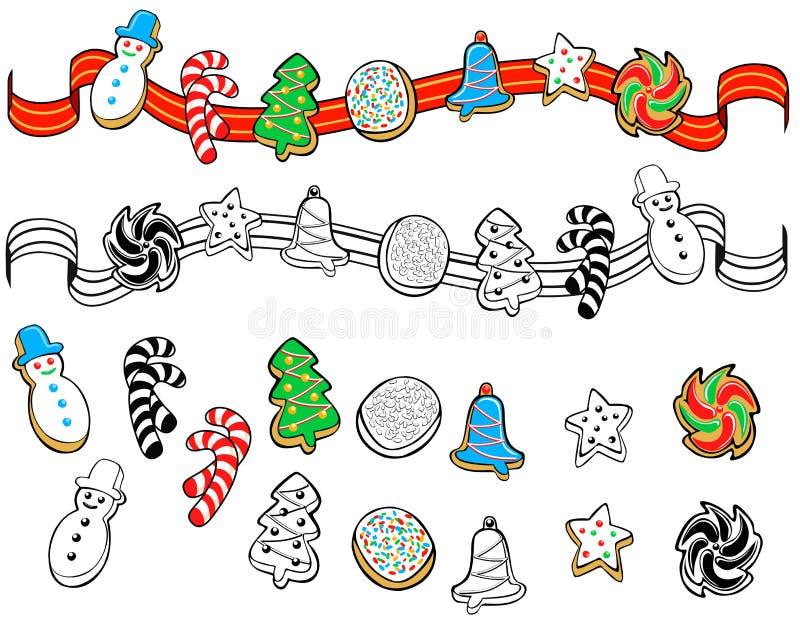 Christmas cookies border ornament vector illustration