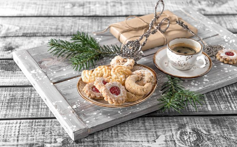 Christmas cookies coffee decorations wooden background stock photo