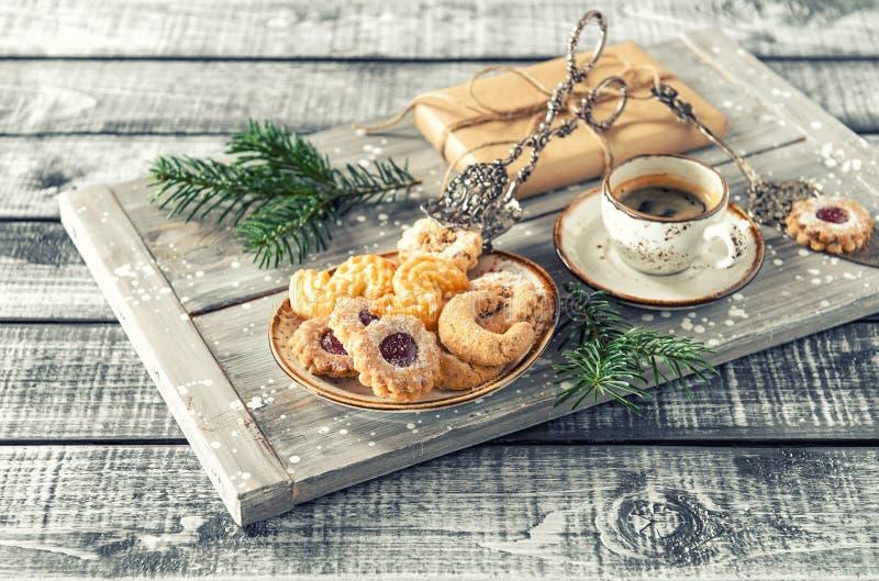 Christmas cookies coffee decorations vintage stock image