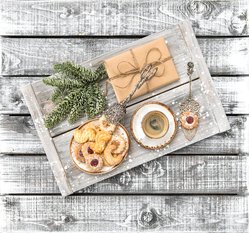 Christmas cookies coffee gift decorations wooden background stock photography