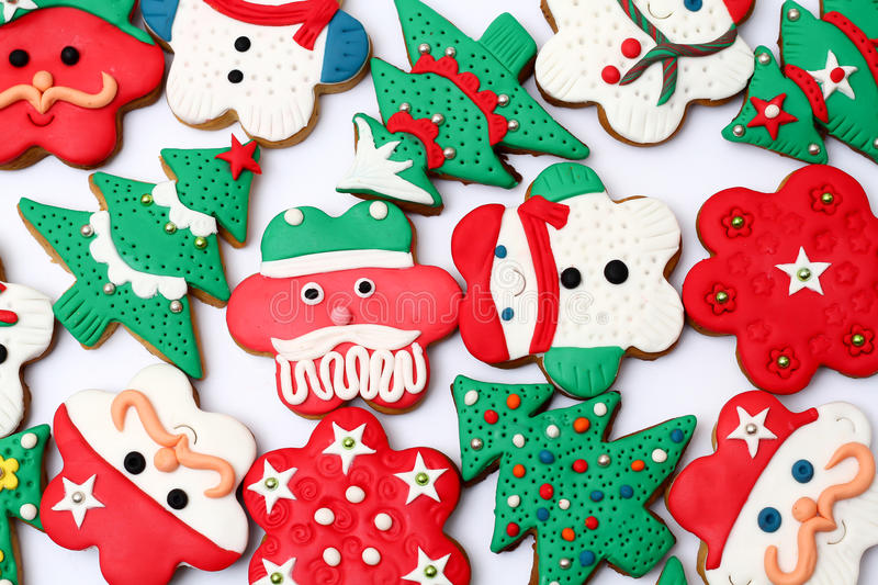 Christmas cookies. Colorfull Christmas cookies isolated White background vector illustration