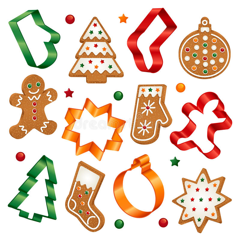 Christmas cookies and cookie cutters. Collection of Christmas gingerbread cookies and Christmas cookie cutters stock illustration
