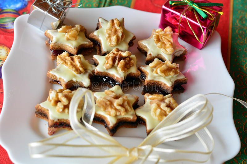 Christmas Cookies Decorated With Walnut royalty free stock photos