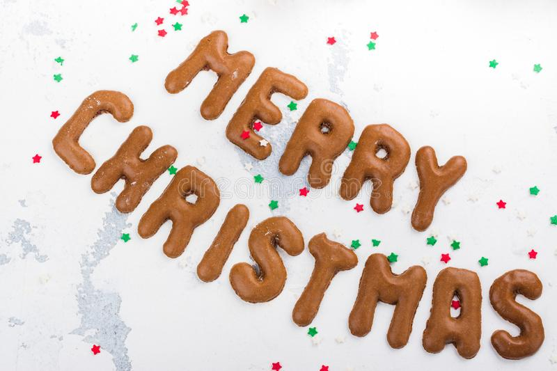 Christmas cookies on festive decorated background stock photos