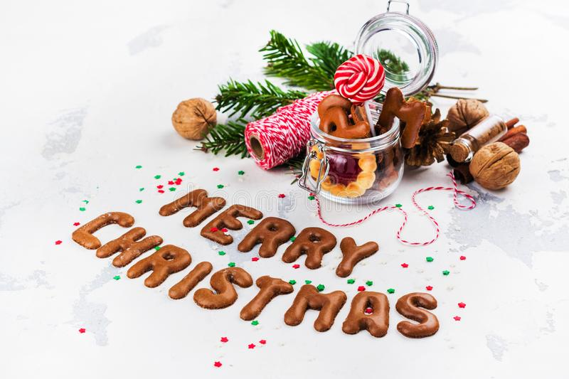 Christmas cookies on festive decorated background royalty free stock photos