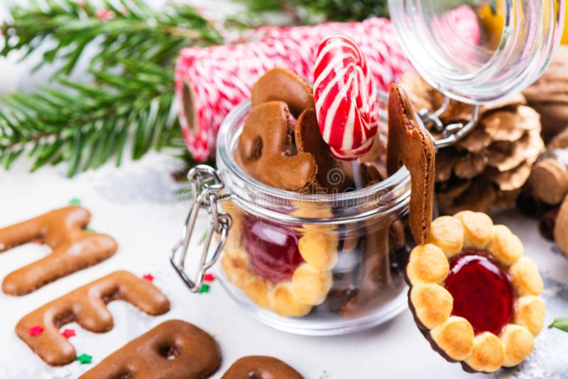 Christmas cookies on festive decorated background royalty free stock photo